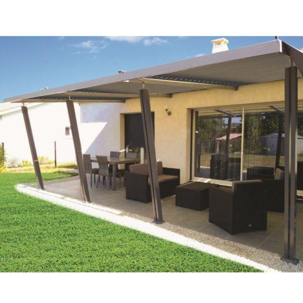 tonnelle adoss e aluminium 4x6 m lames orientables boston luxe plantes et jardins. Black Bedroom Furniture Sets. Home Design Ideas