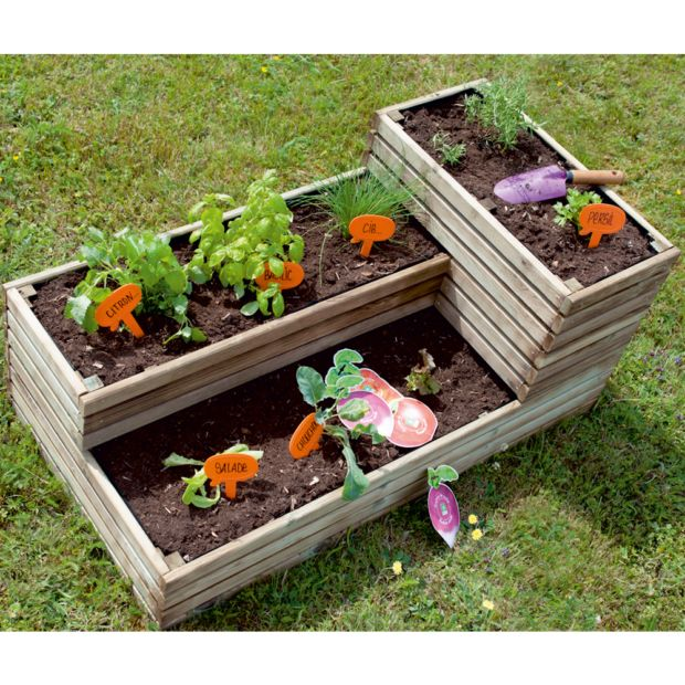 carr potager bois trait l119 5 h53 cm k b plantes et. Black Bedroom Furniture Sets. Home Design Ideas