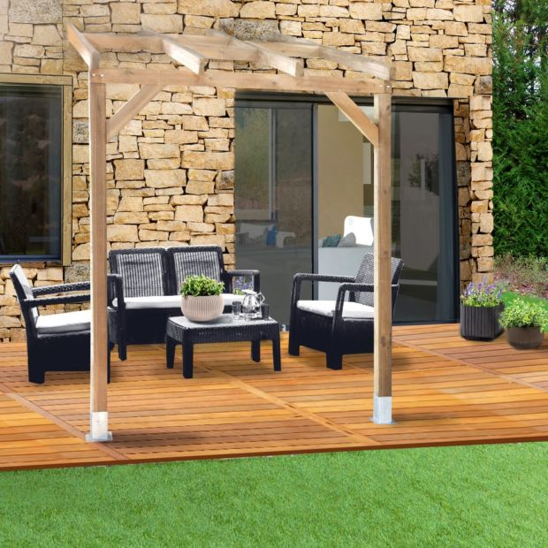 pergola adoss e bois trait 3x2 m plantes et jardins. Black Bedroom Furniture Sets. Home Design Ideas