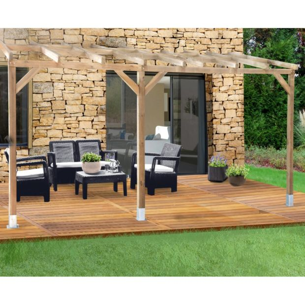 pergola adoss e bois trait 3x4 9 m plantes et jardins. Black Bedroom Furniture Sets. Home Design Ideas