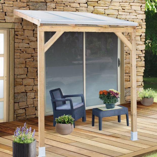 pergola adoss e bois trait toiture polycarbonate 3x2 m. Black Bedroom Furniture Sets. Home Design Ideas
