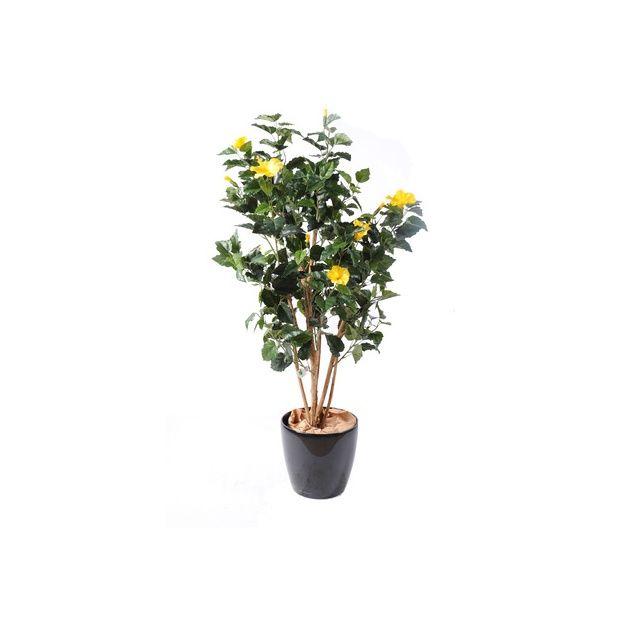 Hibiscus jaune h150cm tronc naturel feuillage artificiel - Hibiscus exterieur en pot ...