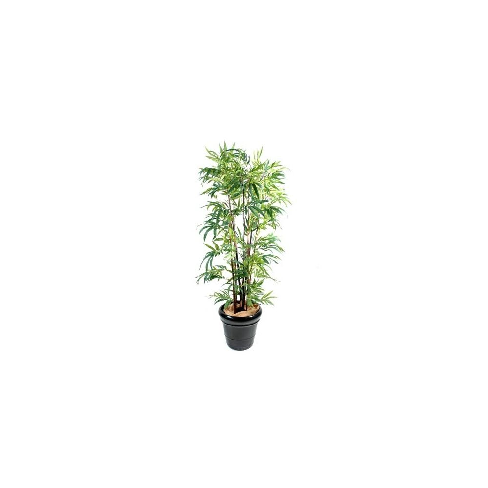 Bambou noir nt 180 cm 6 chaumes pot classique tronc naturel feuillage artificiel plantes - Tronc de bambou decoratif ...