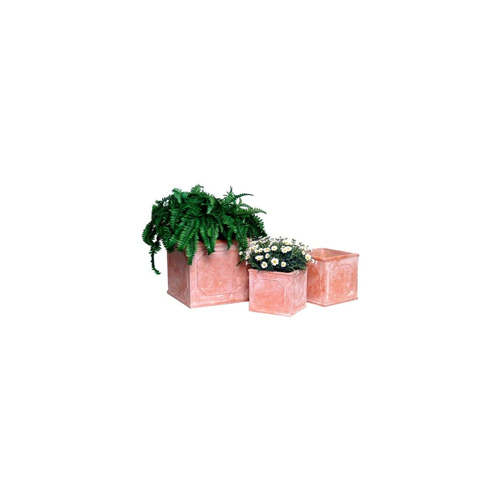 pot carr en fibre de terre naturel aspect lait de chaux l27 x l27 x h31 cm plantes et jardins. Black Bedroom Furniture Sets. Home Design Ideas