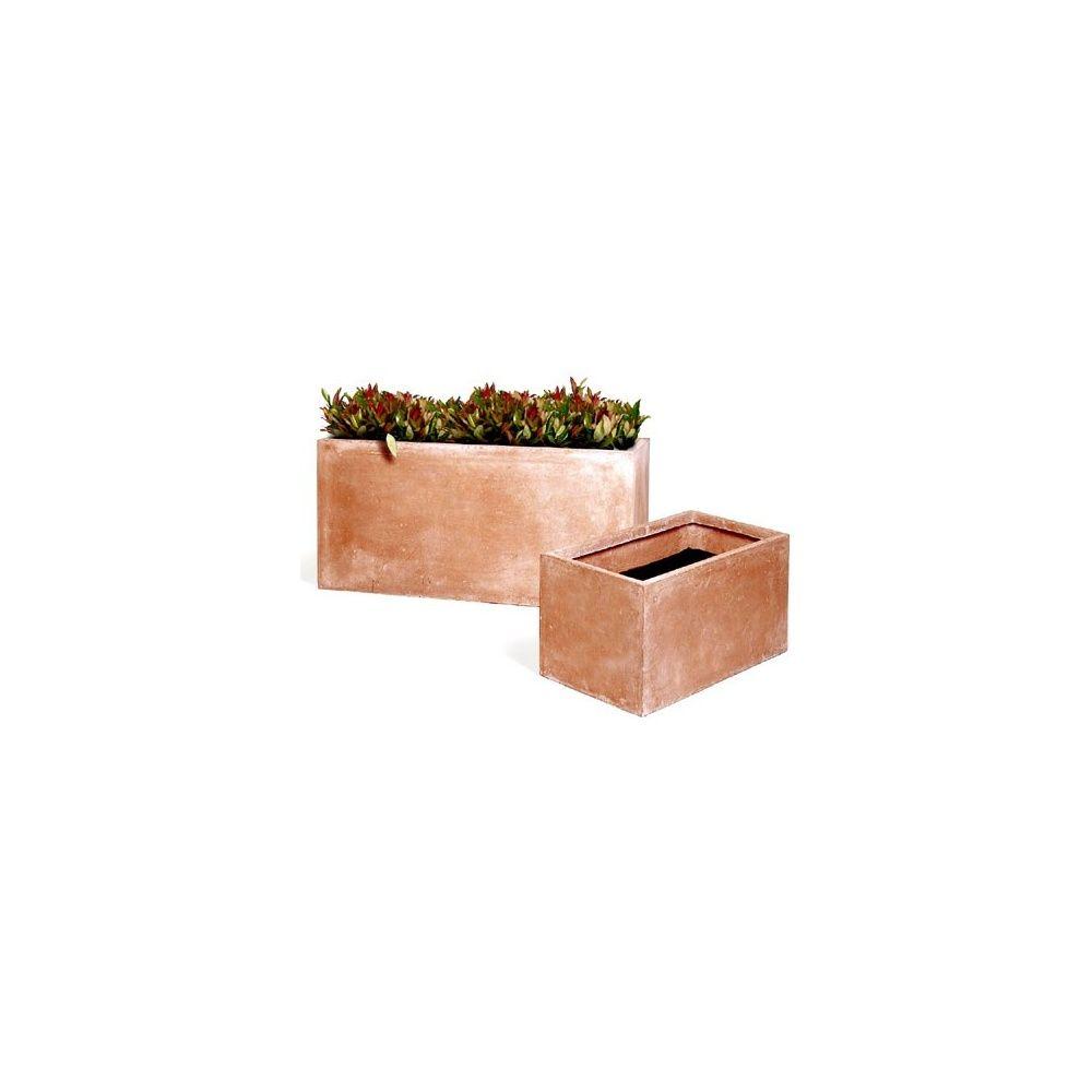 grand pot rectangulaire en fibre de terre naturel aspect lait de chaux 85 litres l80 x l40 x. Black Bedroom Furniture Sets. Home Design Ideas