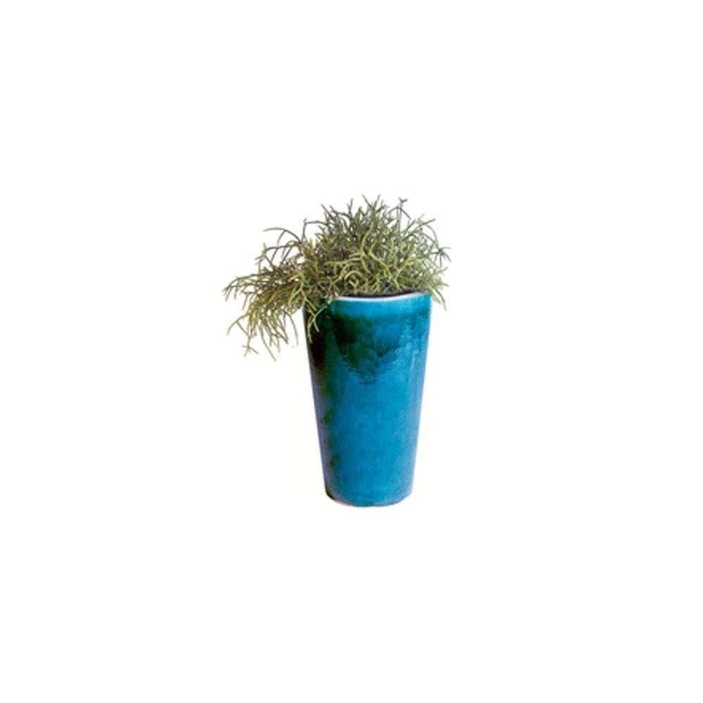 Pot conique en terre cuite maill e 49 litres bleu d33xh57 cm plantes et jardins - Pot en terre cuite emaillee ...