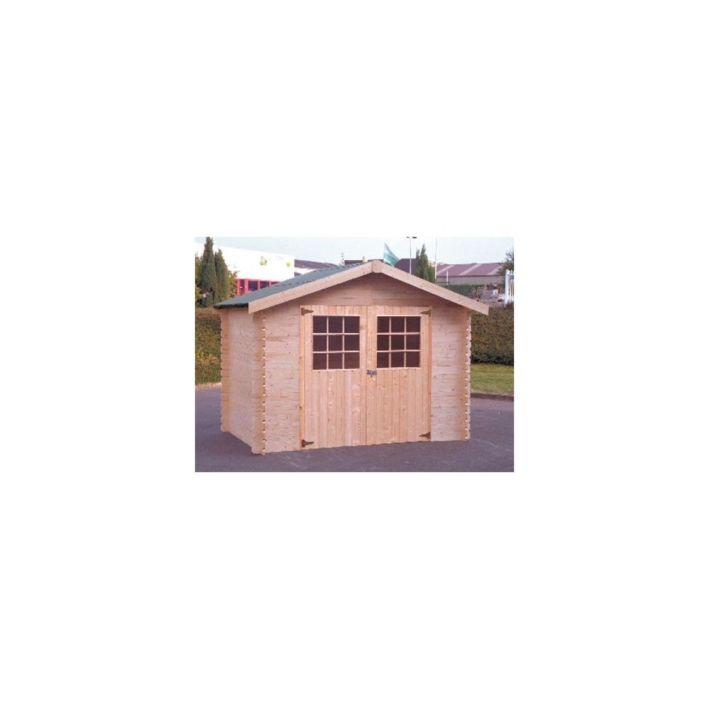 Abri de jardin bois massif 300 x 200 cm 28 mm t2 avec for Abri de jardin avec plancher