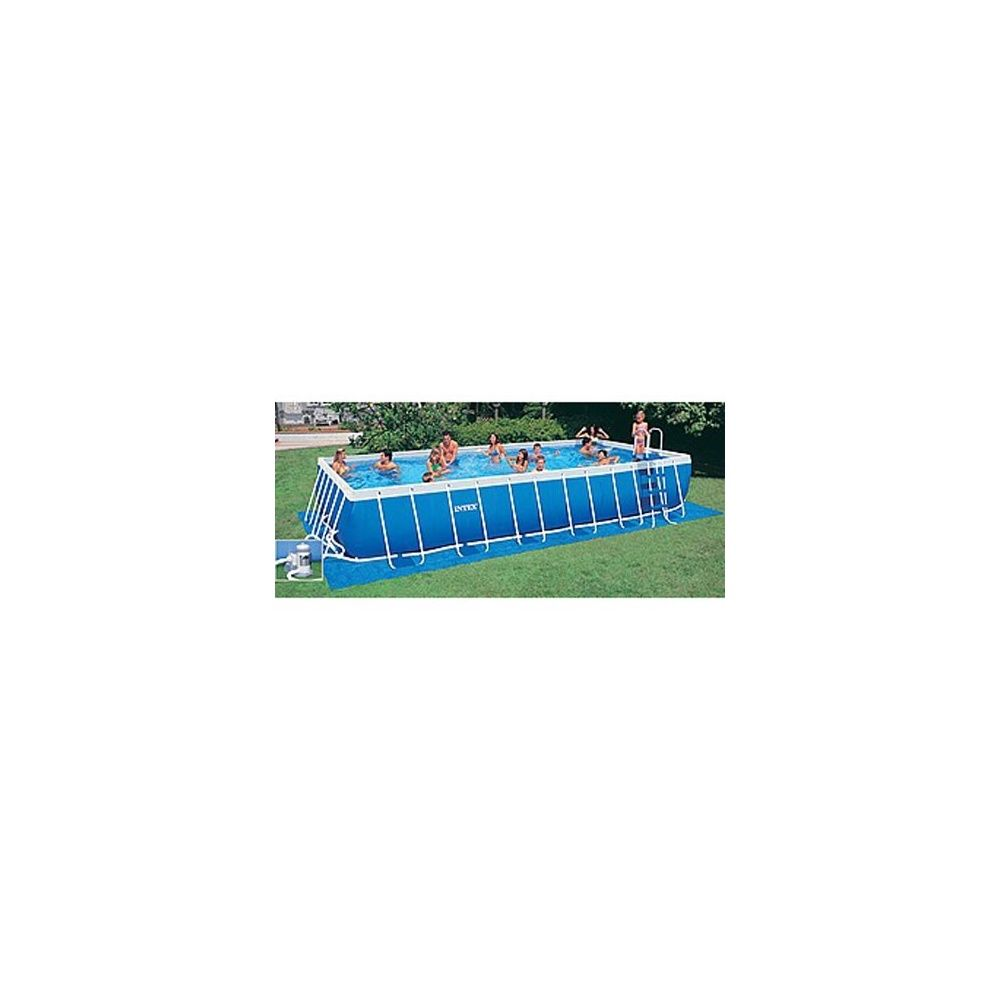 Kit piscine tubulaire rectangulaire m tal intex 7 32m for Piscine metal rectangulaire