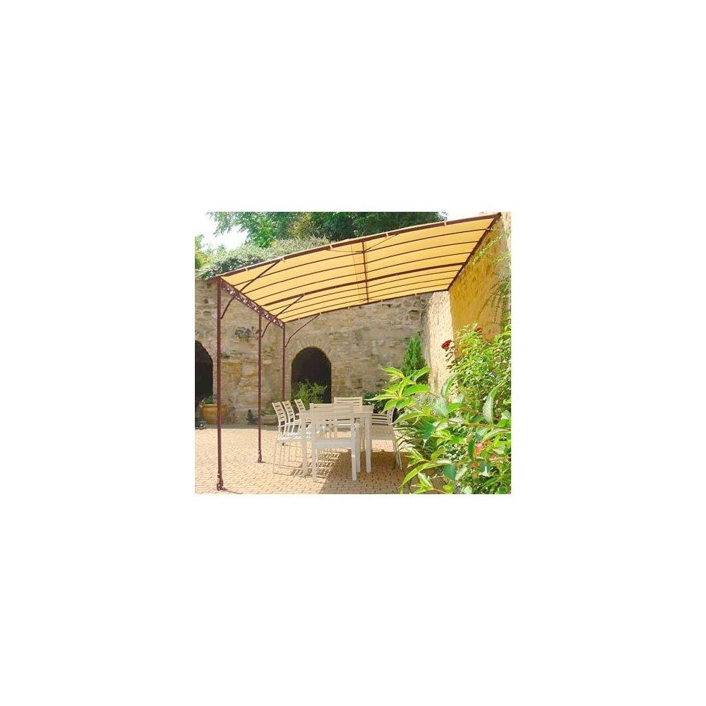 Tonnelle adoss e 4 x 3m en fer forg galvanis toile acrylique 220g m pl - Tonnelle adossee fer forge ...