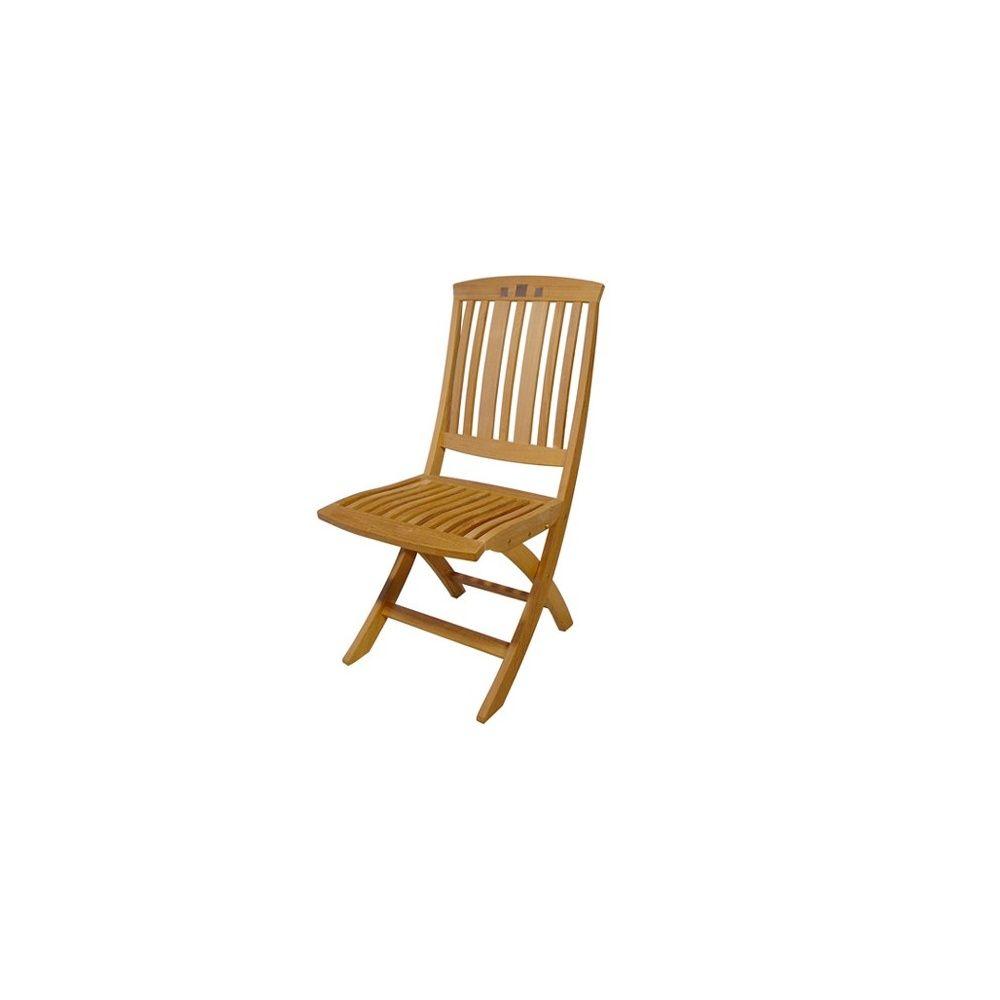 Lot de 2 chaises pliantes en teck slate royale plantes et jardins - Lot de chaises pliantes ...