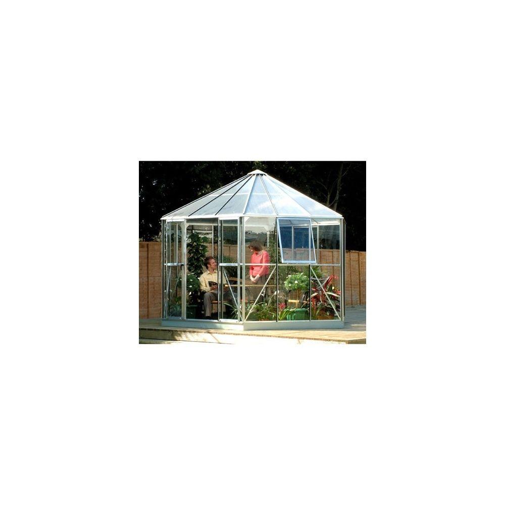 Serre atrium lams en verre horticole et polycarbonate 9m alu naturel emb - Verre ou polycarbonate ...