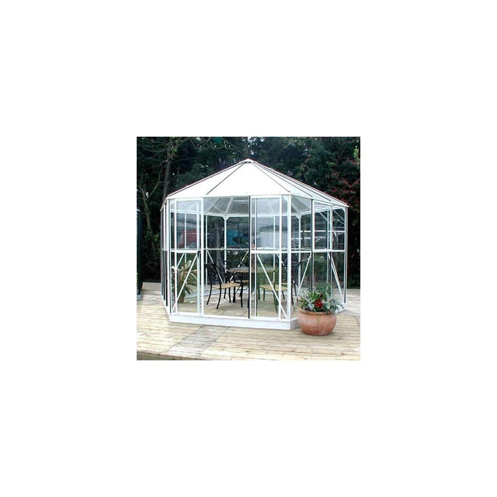serre atrium lams en verre horticole et polycarbonate 9m laqu e blanc embase plantes et. Black Bedroom Furniture Sets. Home Design Ideas