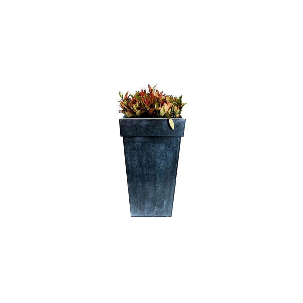 pot carr haut en zinc noir l32 h50 plantes et jardins. Black Bedroom Furniture Sets. Home Design Ideas