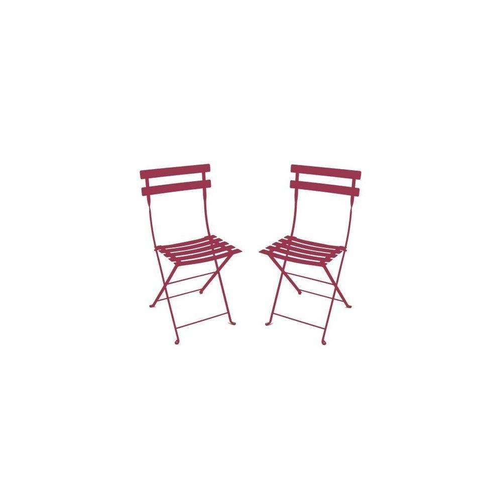 chaise pliante bistro en m tal grenat fermob lot de 2 plantes et jardins. Black Bedroom Furniture Sets. Home Design Ideas