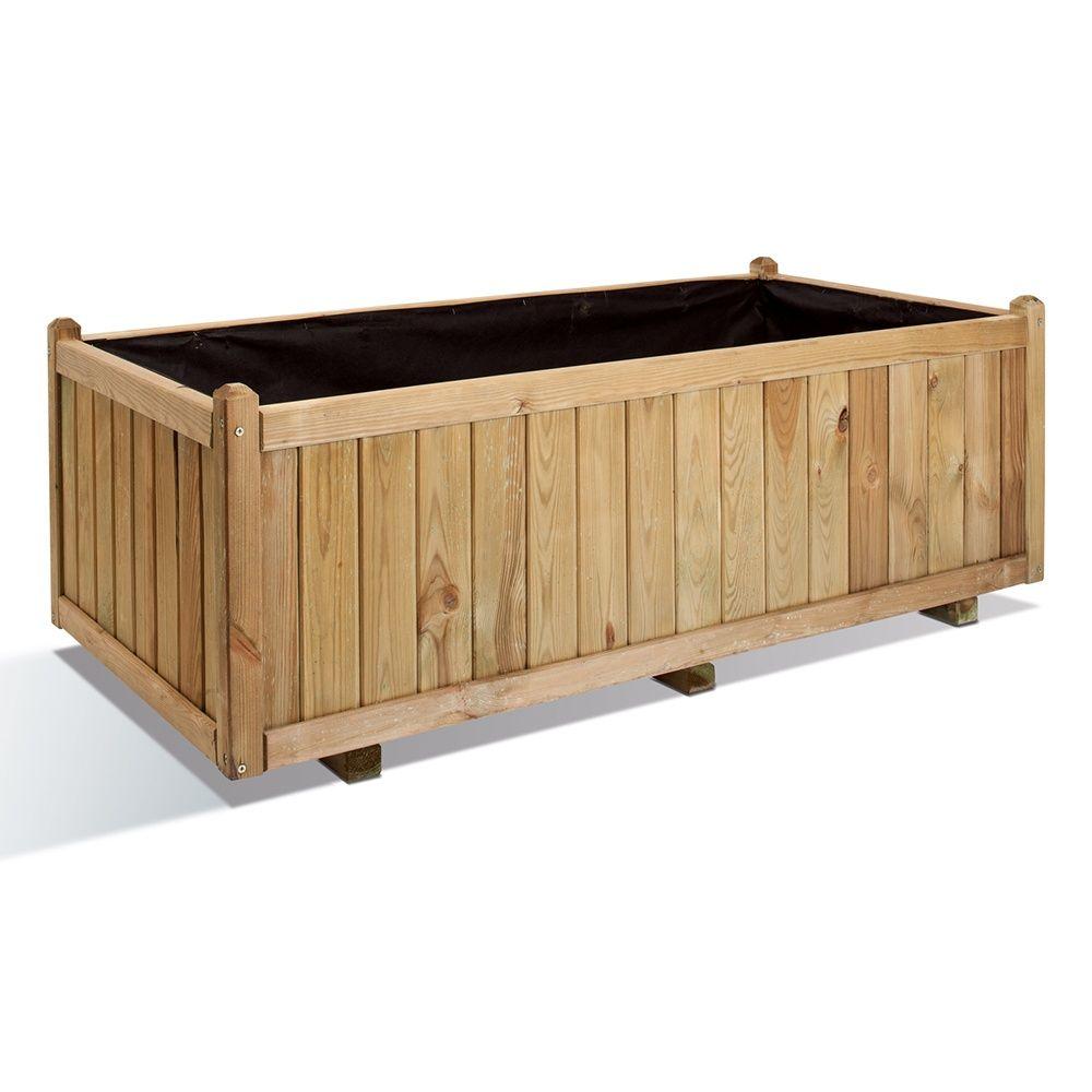 bac fleurs bois trait l140 h50 cm vend me plantes et jardins. Black Bedroom Furniture Sets. Home Design Ideas