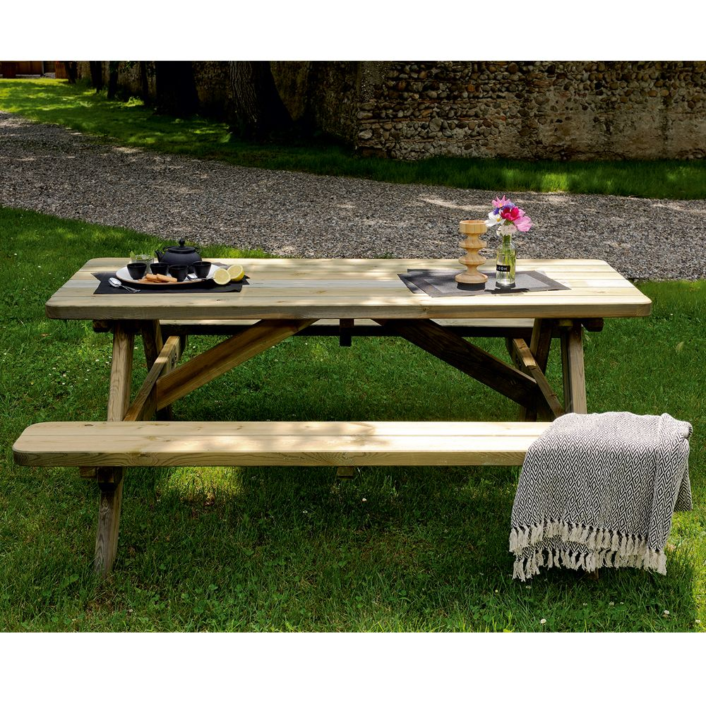 Emejing table de jardin en bois traite gallery amazing for Table bois jardin