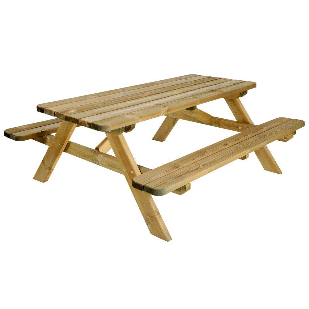 table de pique nique bois trait l180 l160 cm plantes et. Black Bedroom Furniture Sets. Home Design Ideas