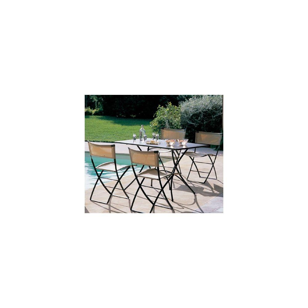 Salon de jardin 4 places table pigalle 120 x 76 cm 4 for Jardin 76