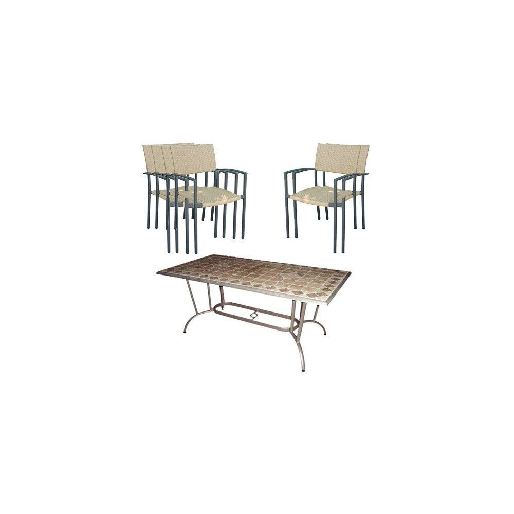 Salon rhodos table travertin 2 fauteuils 4 chaises for Salon 4 fauteuils