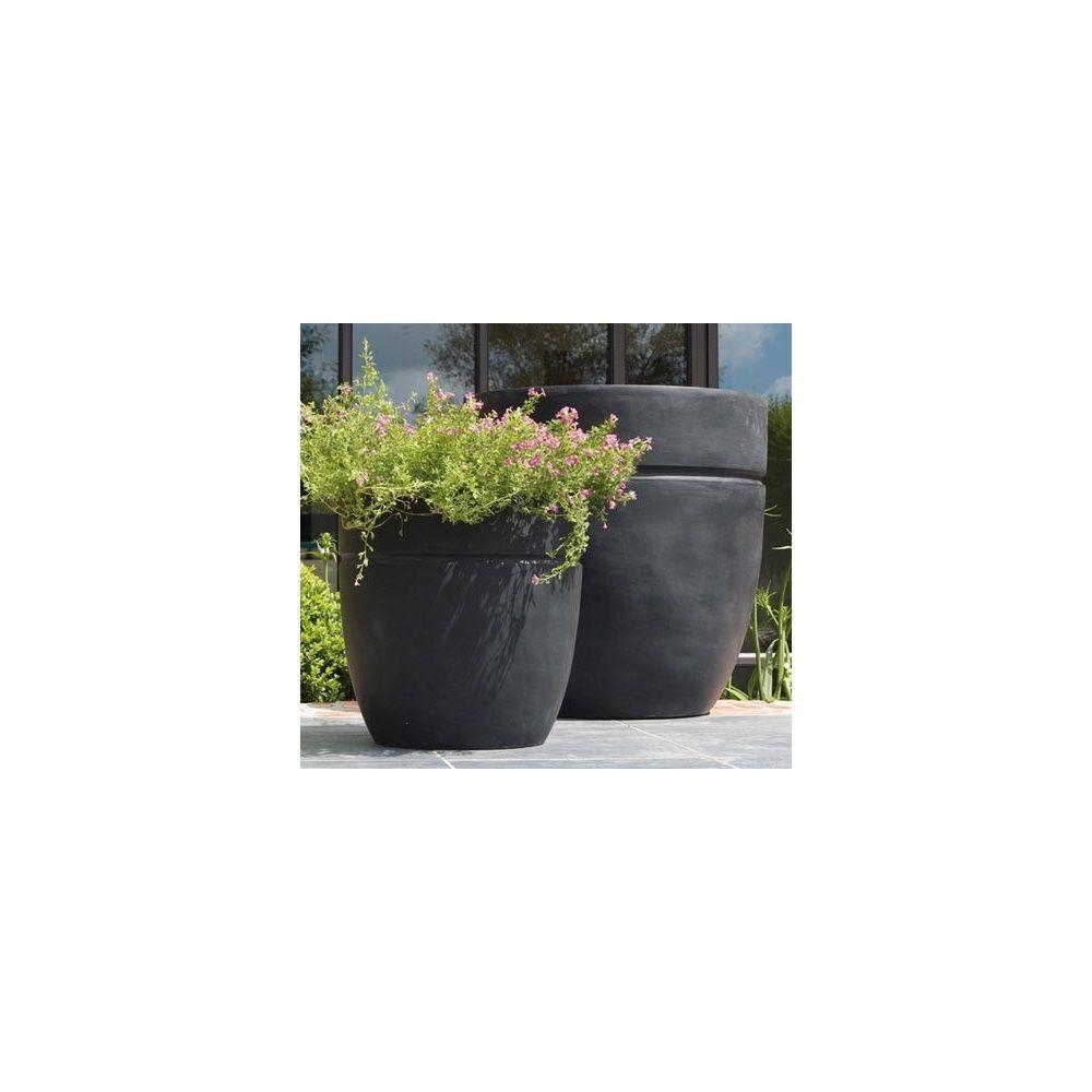 pot rond fibre de verre noir 18 litres x plantes et jardins