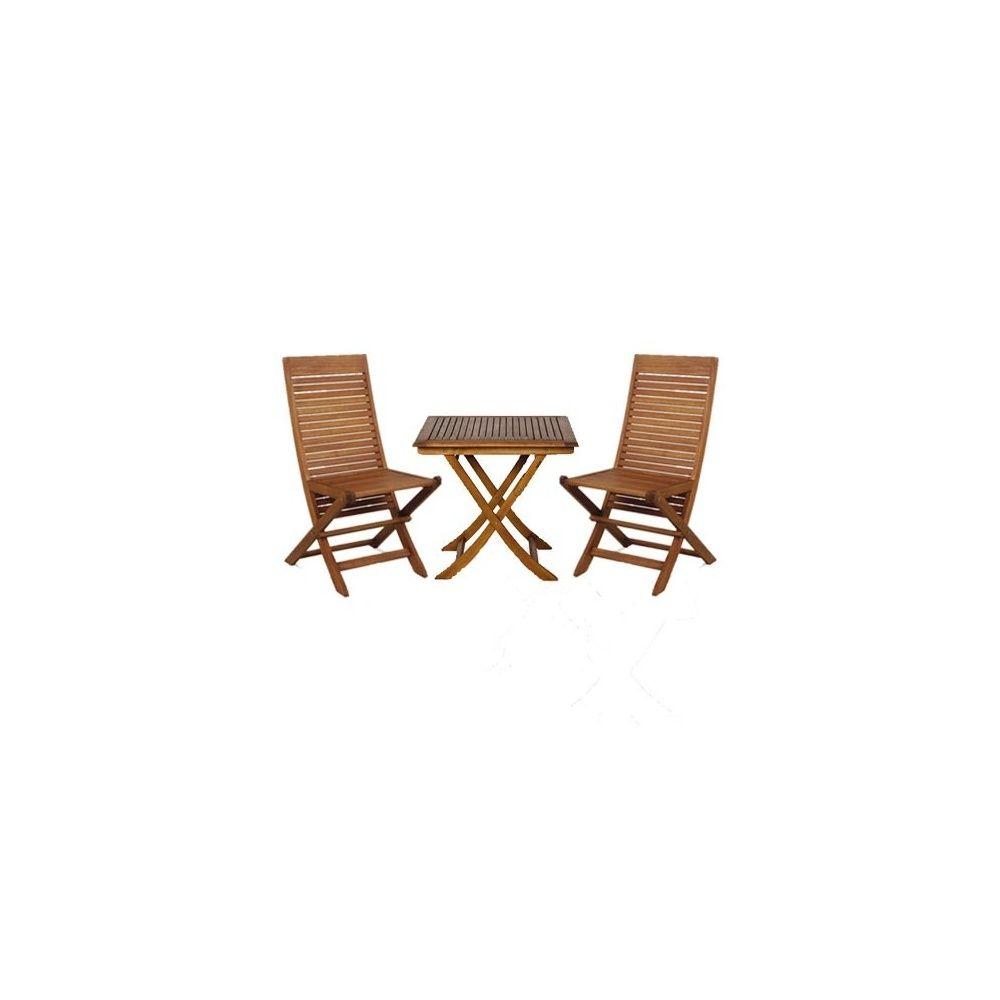 salon 2 places en eucalyptus fsc table pliante 80x80 cm 2 chaises pliantes plantes et jardins. Black Bedroom Furniture Sets. Home Design Ideas