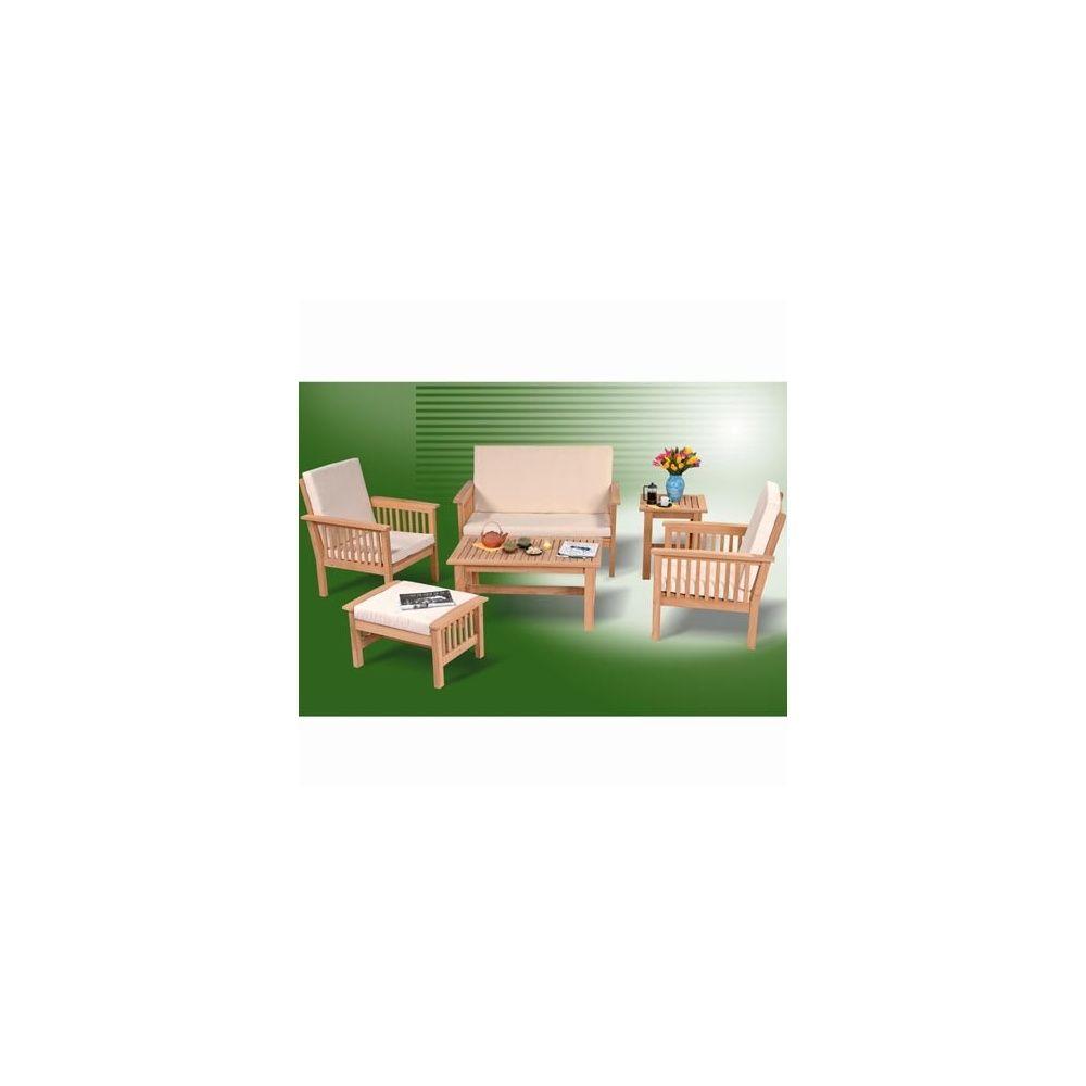 Salon bas 5 places en teck maeva plantes et jardins for Salon 5 places