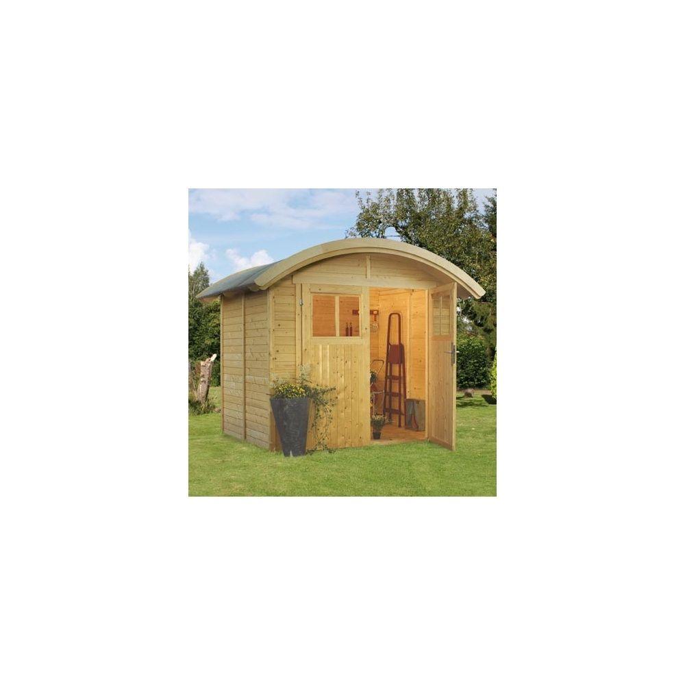 Abri de jardin en bois massif 19 mm de 4 m2 toit demi lune avec plancher plantes et jardins - Abri de jardin en bois avec plancher ...
