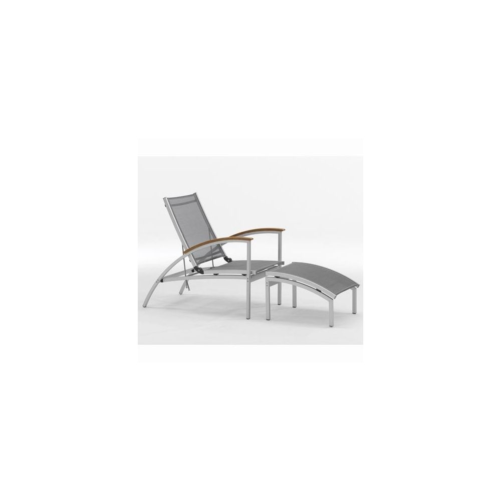 Chaise longue serpens en aluminium et textil ne gris for Chaise longue en aluminium