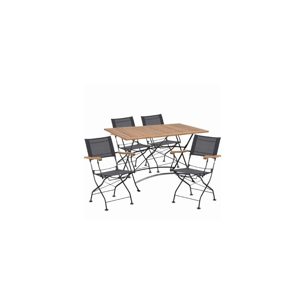 Salon 4 places costa 4 fauteuils pliants 1 table for Salon 4 fauteuils