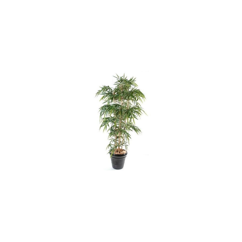 Bambou 6 chaumes h180cm tronc naturel feuillage artificiel pot classique plantes et jardins - Tronc de bambou decoratif ...