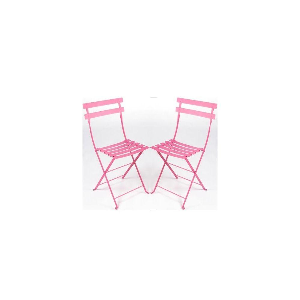 chaise pliante bistro en m tal fuschia fermob lot de 2 plantes et jardins. Black Bedroom Furniture Sets. Home Design Ideas