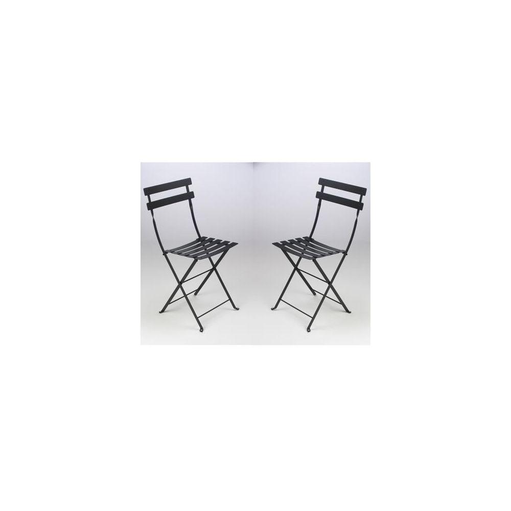 chaise pliante bistro en m tal noir fermob lot de 2 plantes et jardins. Black Bedroom Furniture Sets. Home Design Ideas