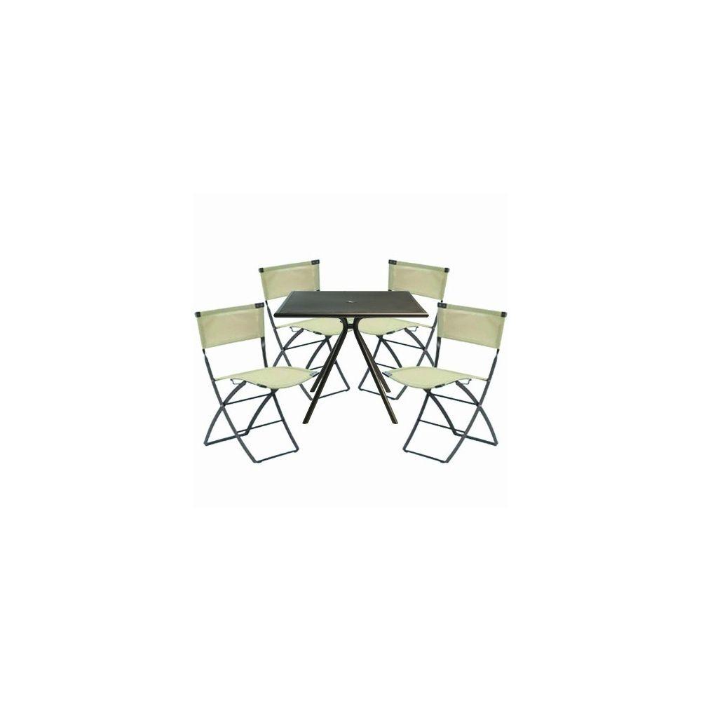 Salon De Jardin 4 Places En Acier 1 Table Solid 4