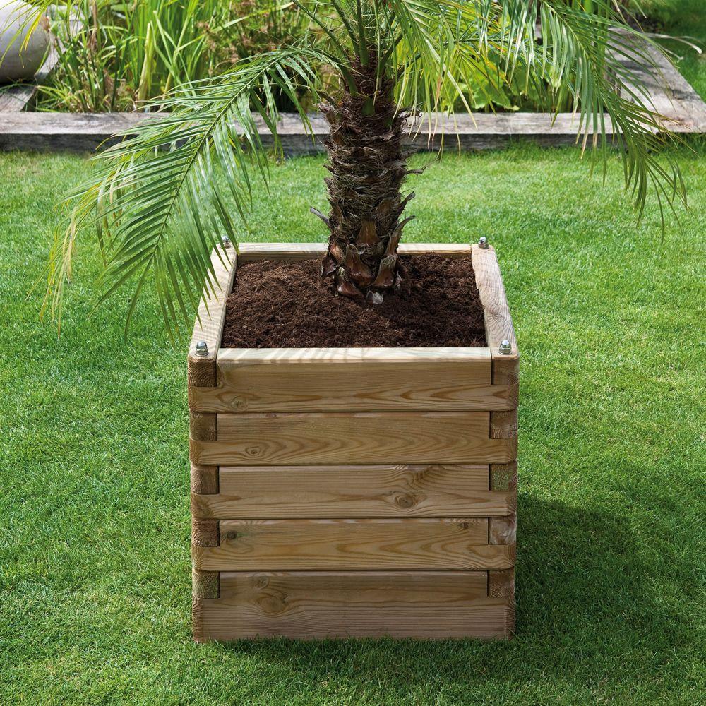 Bac fleurs bois trait l50 h50 cm ol a plantes et jardins - Bac de jardin en bois ...
