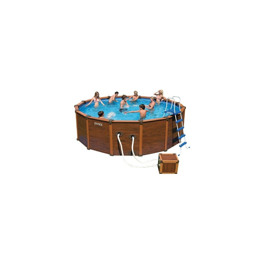Kit piscine aspect bois sequoia intex krystal clear for Piscine intex 5 m