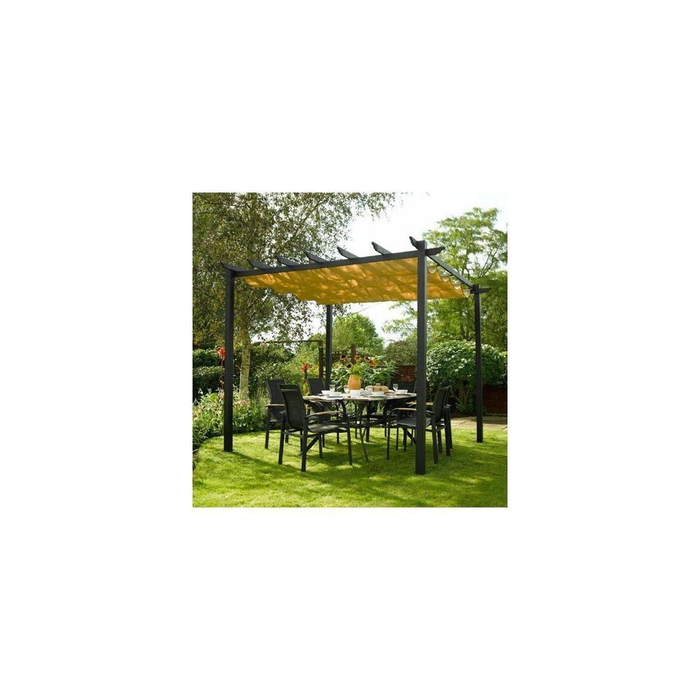 pergola rowlinson noire en aluminium avec toile coulissante plantes et jardins. Black Bedroom Furniture Sets. Home Design Ideas