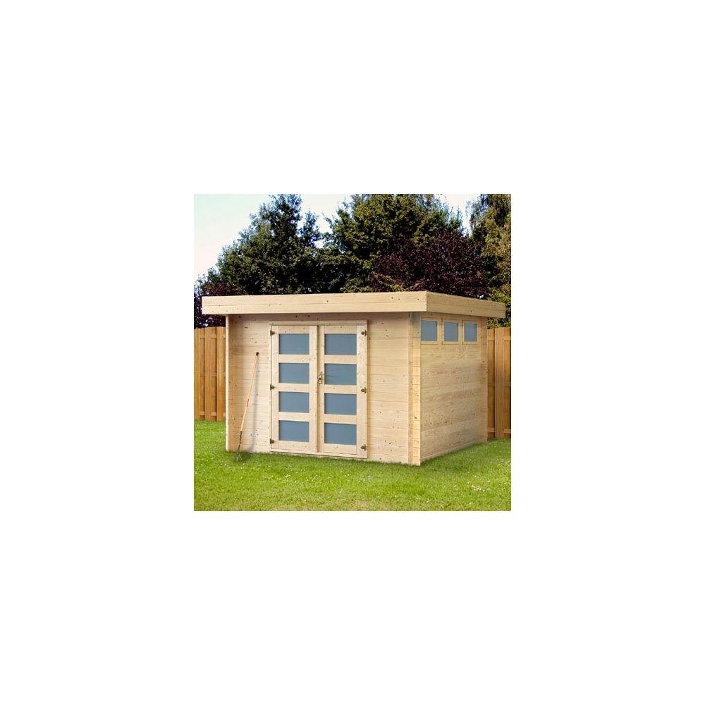 Abri de jardin 8 7 m2 toit plat bois massif 19 mm pefc plancher plantes et jardins - Abri de jardin toit plat tek ...