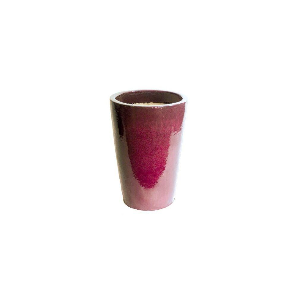Pot conique en terre cuite maill e rouge d38xh56 cm plantes et jardins - Pot en terre cuite emaillee ...