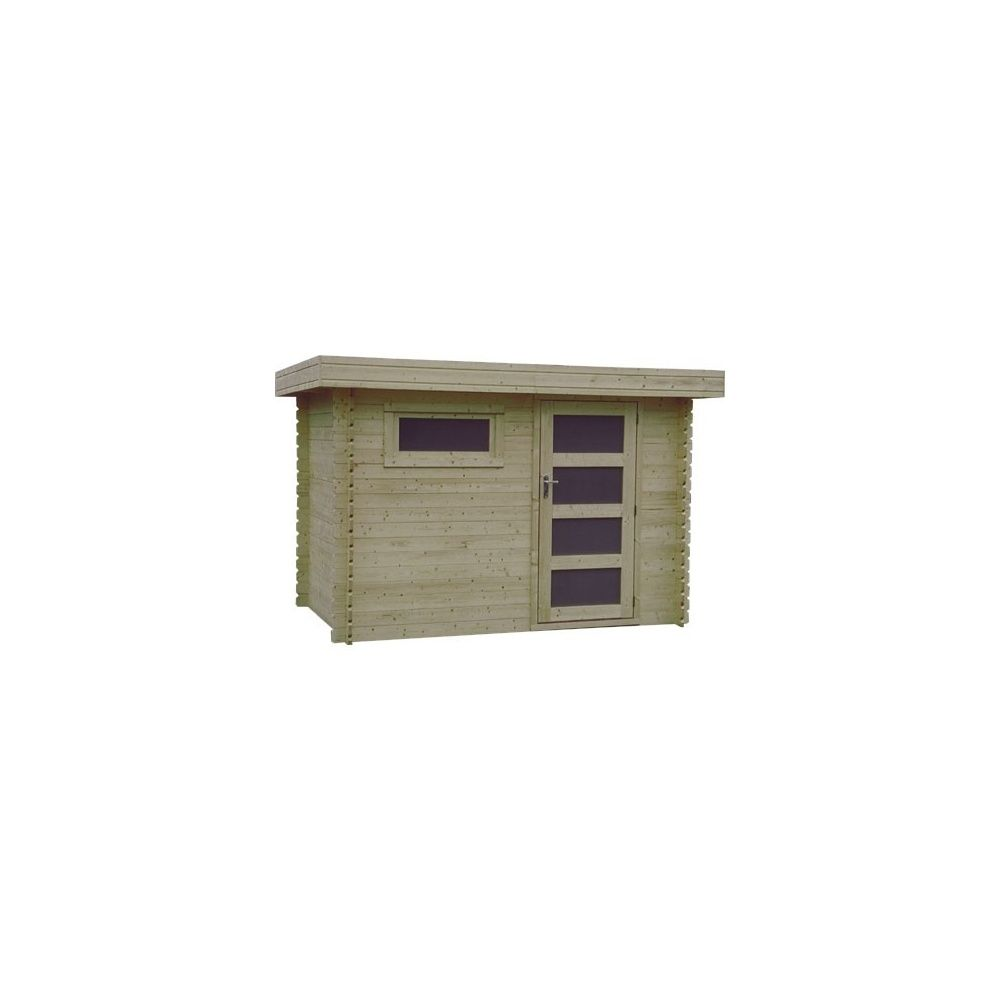 Abri de jardin plosireal m hors tout toit plat bois for Abri de jardin bois toit plat