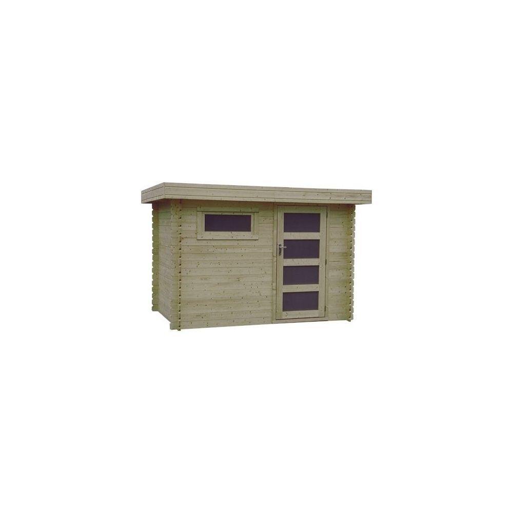 Abri de jardin m hors tout bois 28 mm pefc toit plat for Porte abri de jardin en bois