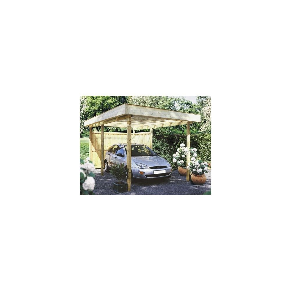 carport autoportant le mans bois 500x300cm toit plat couverture pvc plantes et jardins. Black Bedroom Furniture Sets. Home Design Ideas