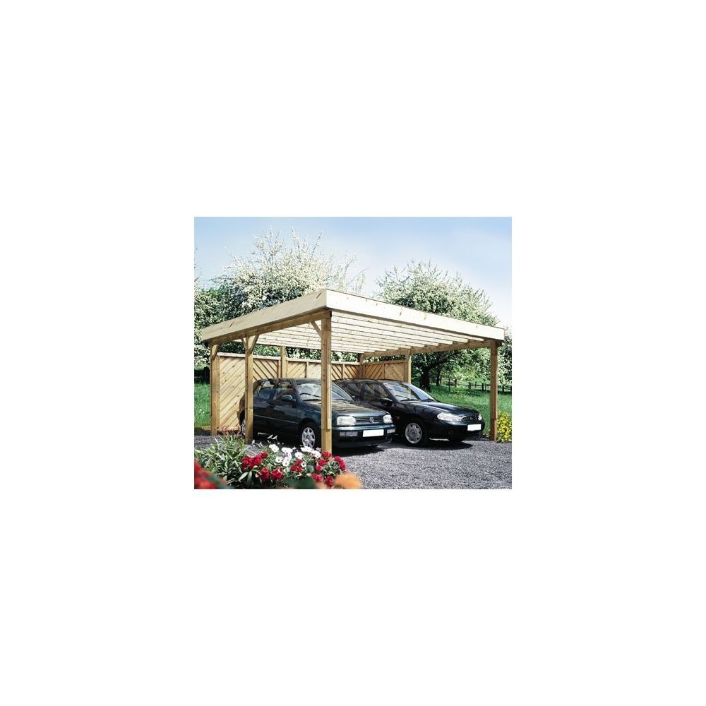 carport autoportant hockenheim bois 500x524cm toit plat sans couverture plantes et jardins. Black Bedroom Furniture Sets. Home Design Ideas