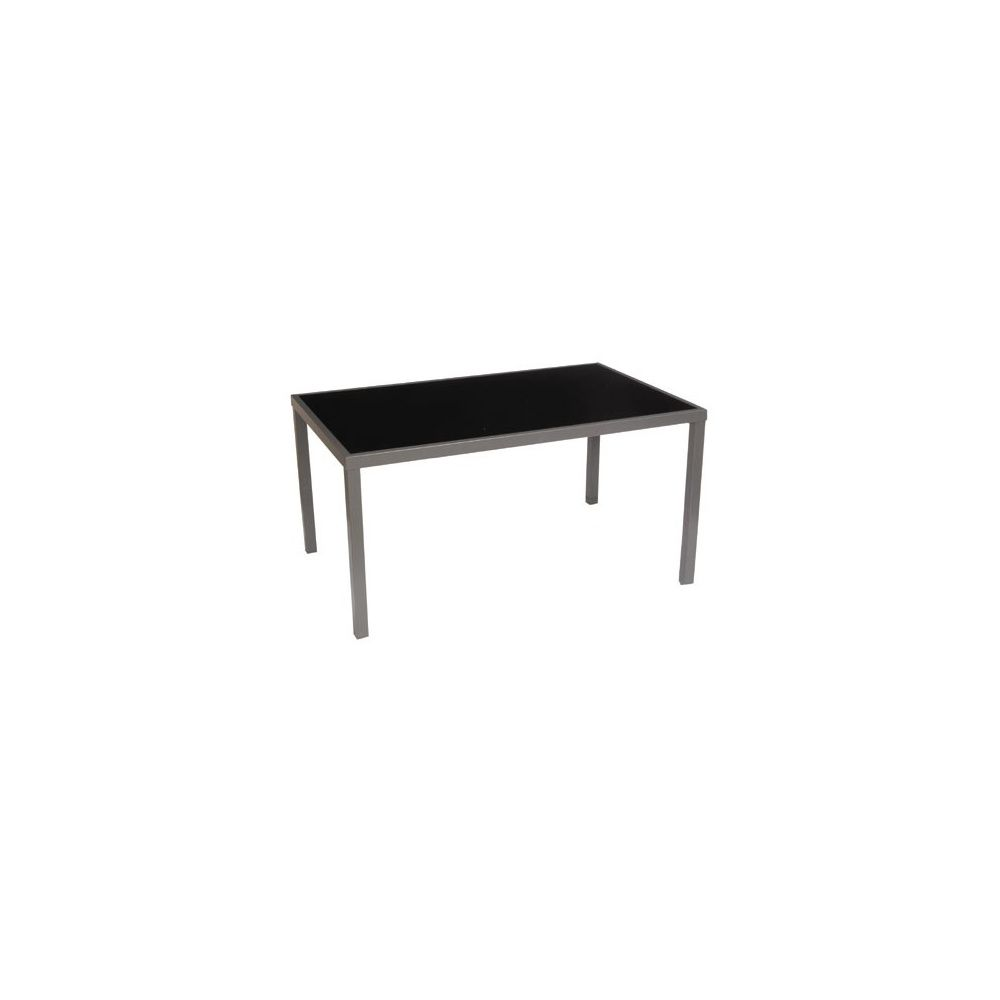 table de jardin star pour 6 personnes en aluminium et verre tremp 160x100cm noir plantes. Black Bedroom Furniture Sets. Home Design Ideas