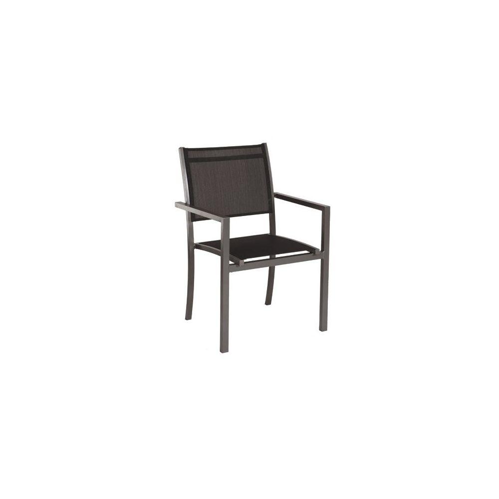 fauteuil empilable moon en aluminium et textil ne gris anthracite plantes et jardins. Black Bedroom Furniture Sets. Home Design Ideas