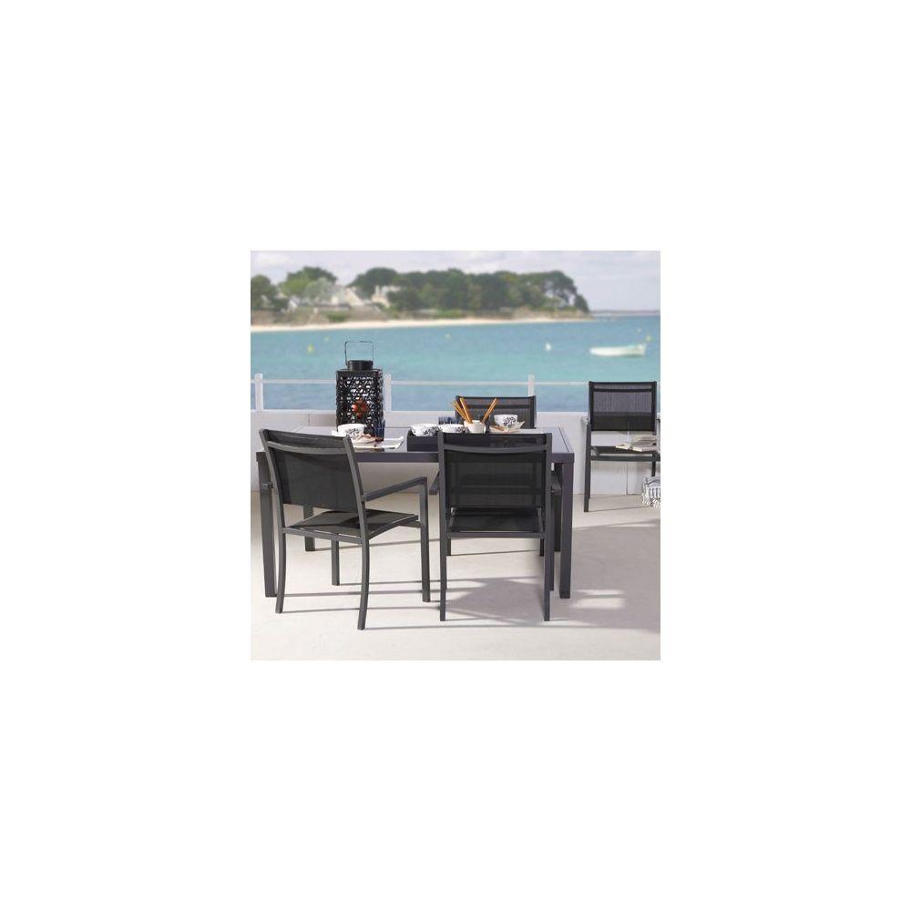 Salon De Jardin Star Table 160 Cm 4 Fauteuils En Aluminium Et Textil Ne Noir Plantes Et