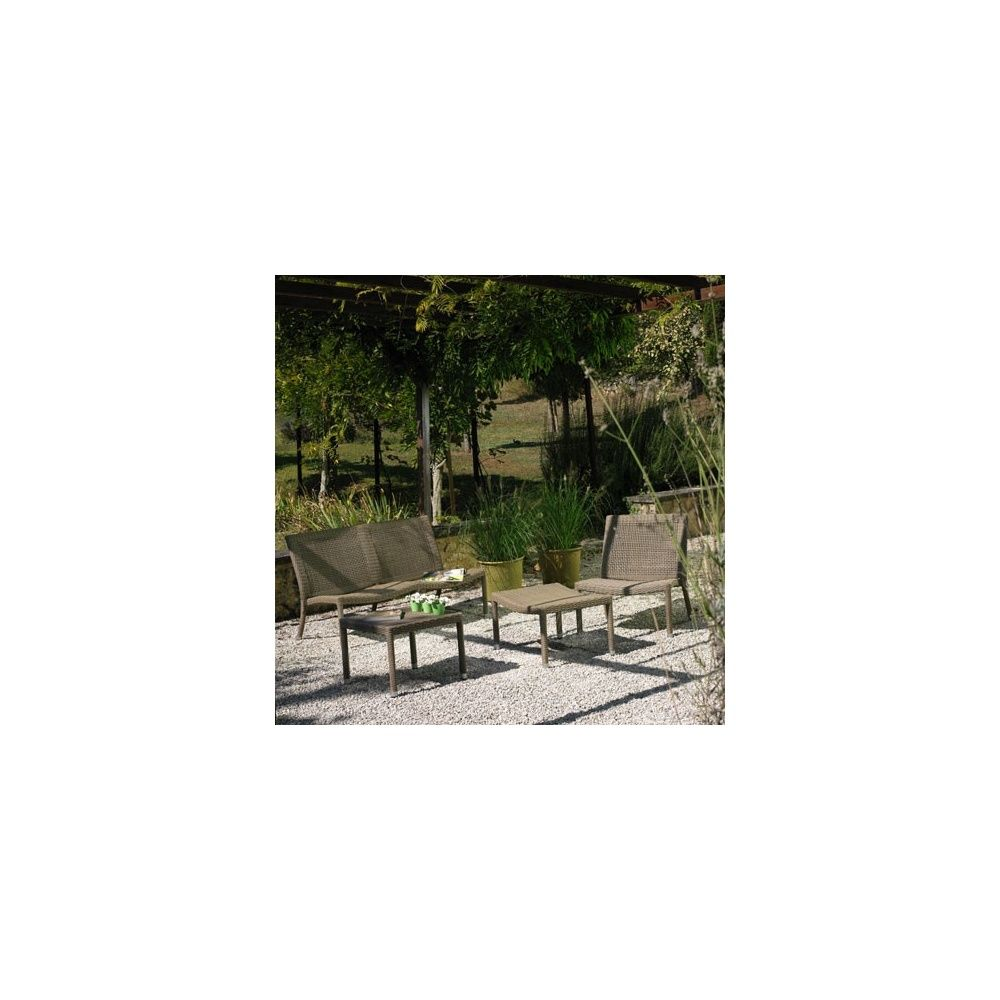 Salon de jardin irving en r sine tress e viro structure for Canape de jardin aluminium