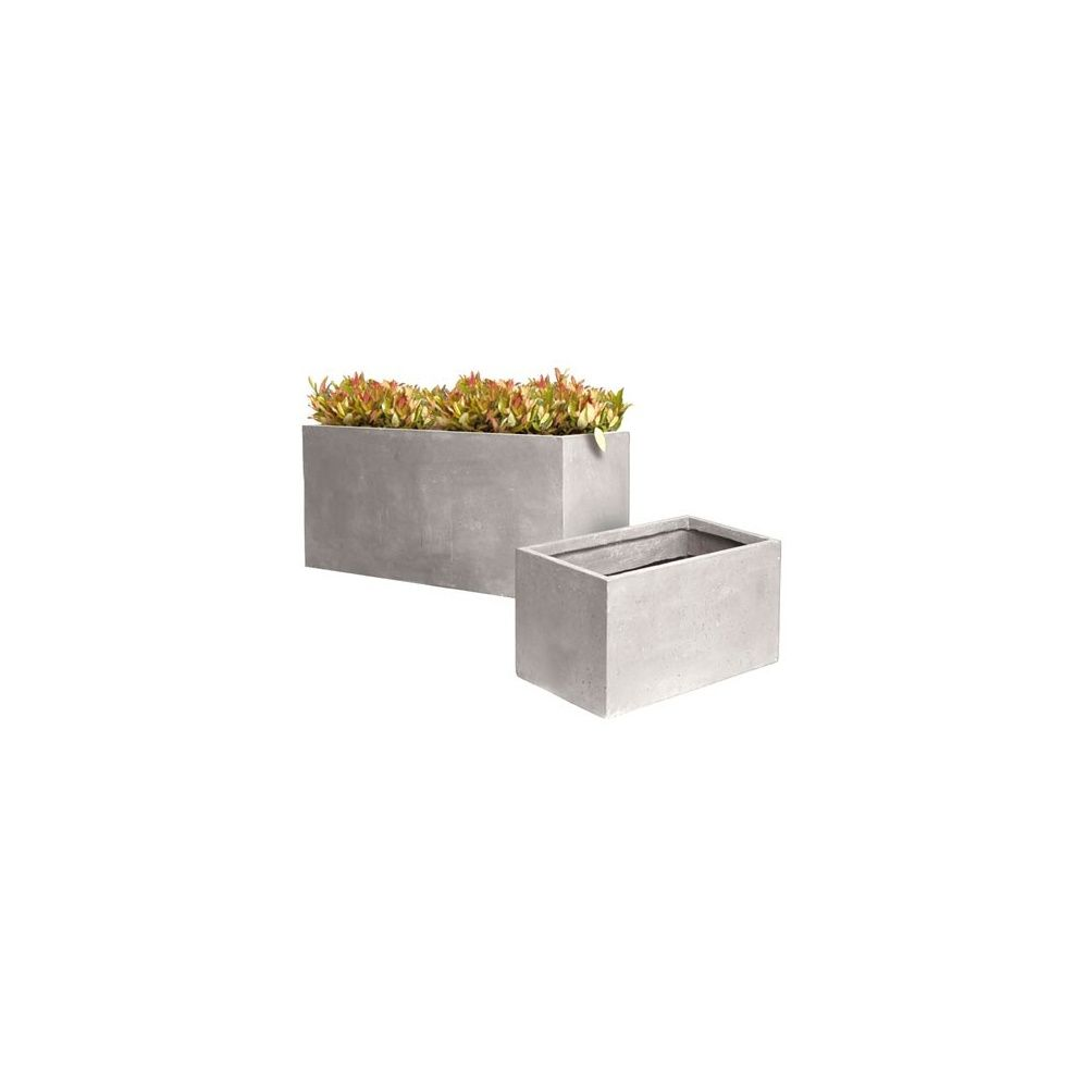 bac rectangulaire en fibre de terre gris ciment clair l60 h30 plantes et jardins. Black Bedroom Furniture Sets. Home Design Ideas