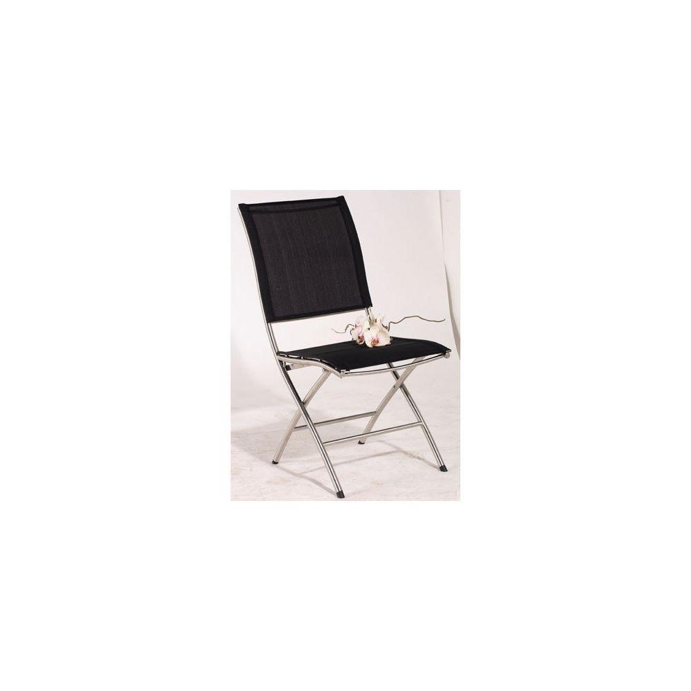 lot de 2 chaises pliantes mendoza noires en inox et textil ne plantes et jardins. Black Bedroom Furniture Sets. Home Design Ideas