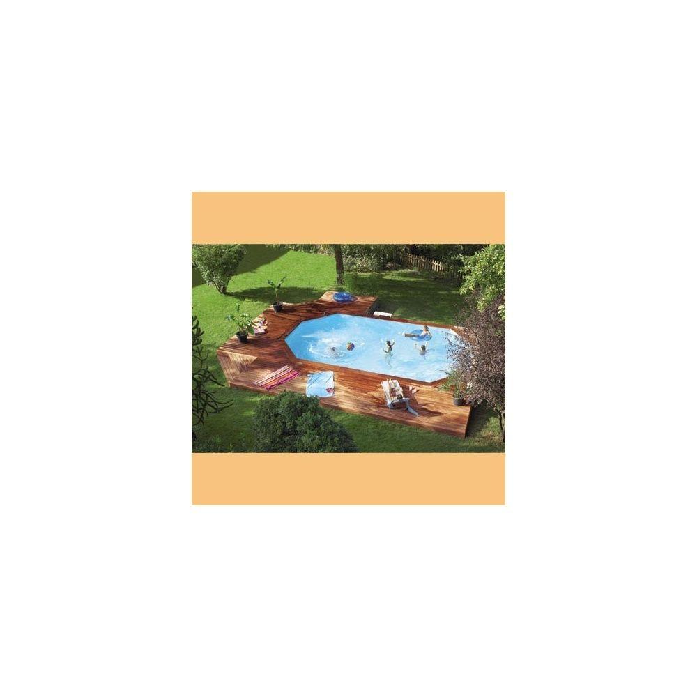 Piscine bois Octo+ Pro Cerland 8 40m x 4 85m margelle composite gris Plantes et Jardins # Margelle Piscine Bois Composite