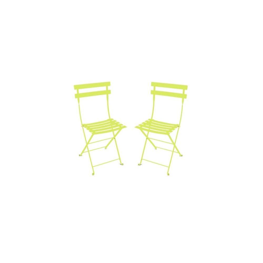 chaise pliante bistro en m tal verveine fermob lot de 2 plantes et jardins. Black Bedroom Furniture Sets. Home Design Ideas